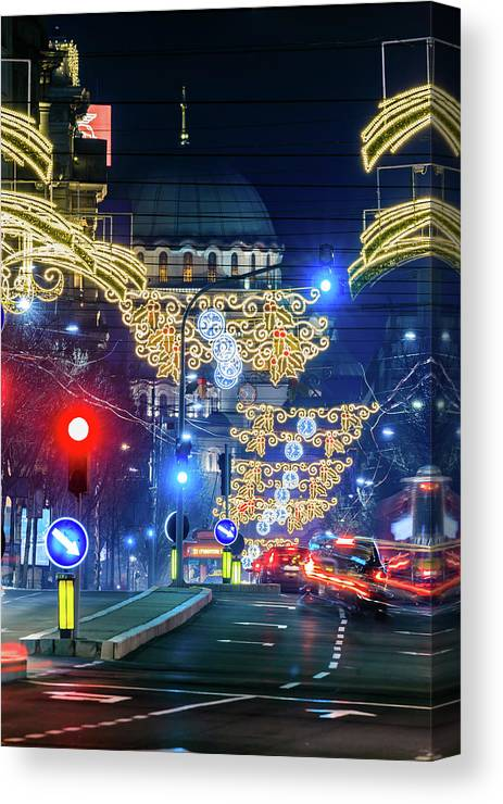 Magnificent Canvas Print featuring the photograph St. Sava Temple In Belgrade Playing Hide And Seek With The Christmas Decorations by Dejan Kostic