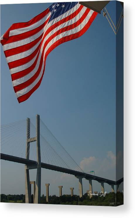 Flag Canvas Print featuring the photograph Stars And Stripes In Savannah by Suzanne Gaff