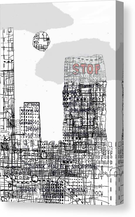 City Canvas Print featuring the digital art Stop II by Andy Mercer