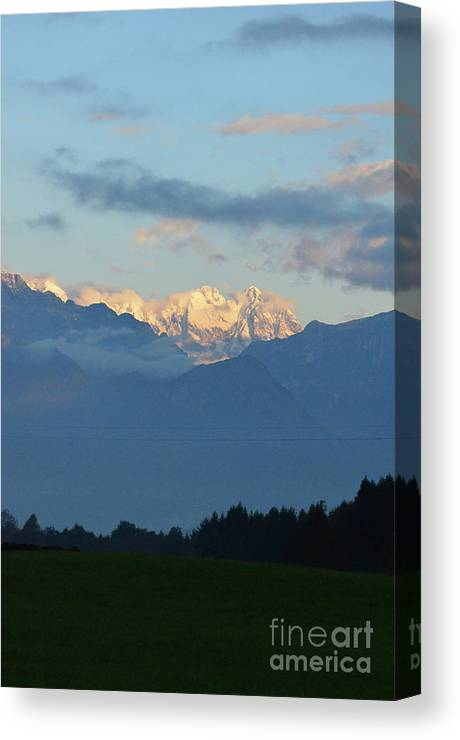 Mountains Canvas Print featuring the photograph Stunning Photo Of The Countryside With Mountains by DejaVu Designs