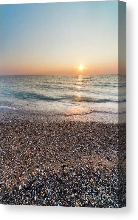 Pierport Canvas Print featuring the photograph Summer Sunset At Pierport by Twenty Two North Photography