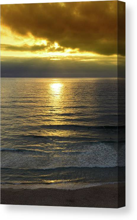 Azenhas Do Mar Canvas Print featuring the photograph Sunset At Praia Pequena, Small Beach In Sintra Portugal by Jose Coelho