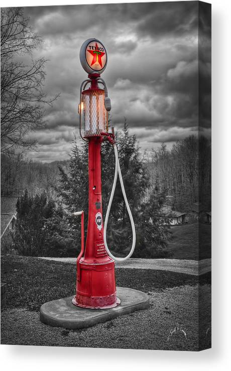 Gas Pumps Canvas Print featuring the photograph Texaco Gas Pump by Williams-Cairns Photography LLC
