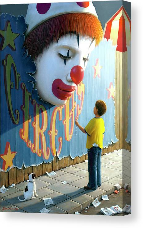 Clown Canvas Print featuring the painting The Big Top by Brian McCarthy