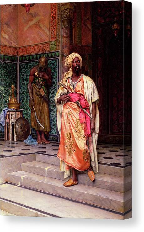 Muslim Military Canvas Print featuring the painting The Emir, 1883 by Ludwig Deutsch