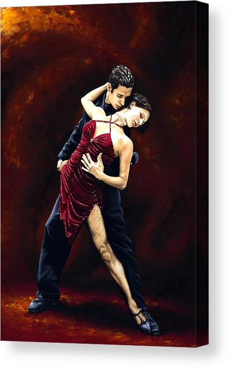 Tango Canvas Print featuring the painting The Passion Of Tango by Richard Young