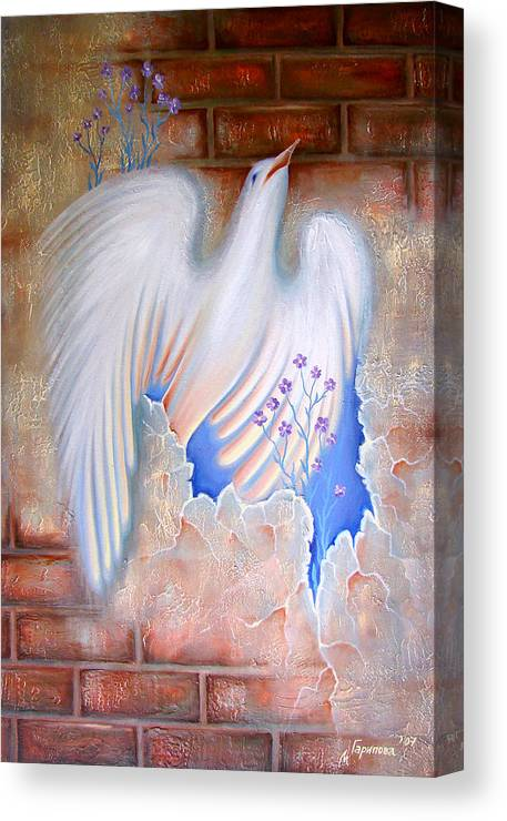 Dove Canvas Print featuring the painting The Truth Will Conquer All by Liliya Garipova