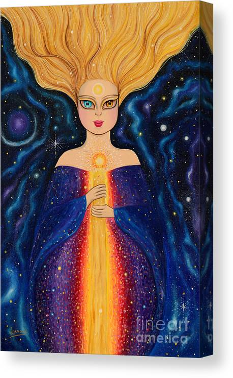 Woman Canvas Print featuring the painting The Wise by Mara Cardenas