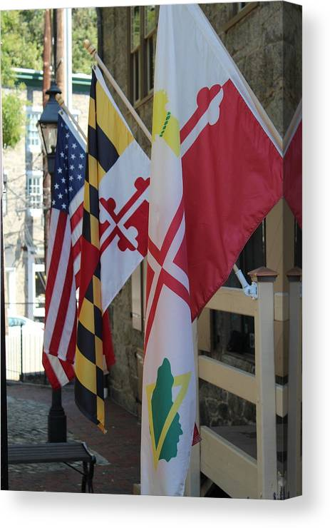 Howard County Canvas Print featuring the photograph Three Flags by Allison Smith