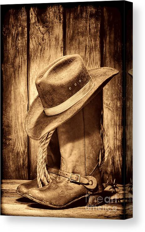 c8ecd7052ff Cowboy Canvas Print featuring the photograph Vintage Cowboy Boots by American  West Legend By Olivier Le