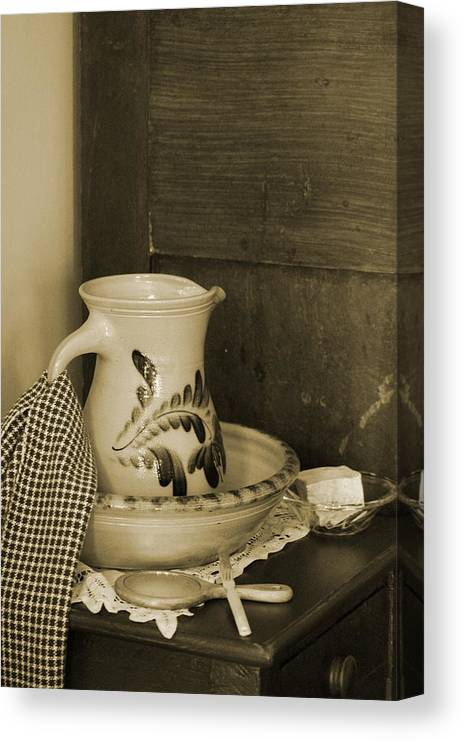 Antique Table Canvas Print featuring the photograph Vintage Grooming Set And Stoneware Water Pitcher In Sepia Tones by Colleen Cornelius