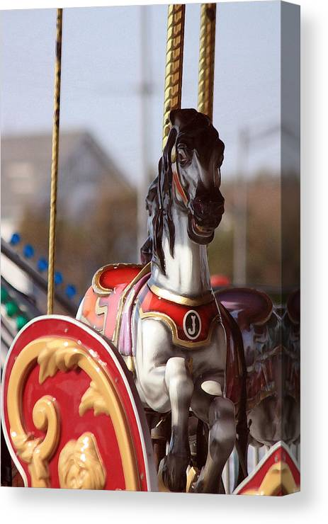 Carousel Canvas Print featuring the photograph Waiting For A Rider by Mary Haber