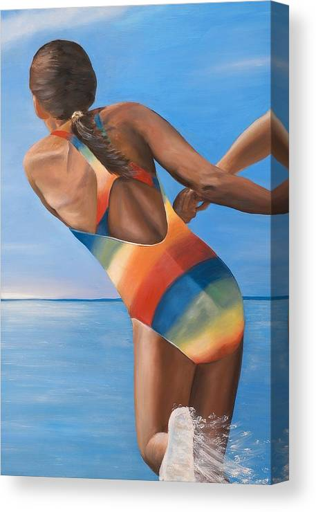 Girl Canvas Print featuring the painting Water Dance by Mimi Schlichter