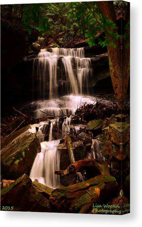 Mcconnells Mill State Park Pa Canvas Print featuring the photograph Waterfall Mcconnells Mills State Park by Lisa Wooten