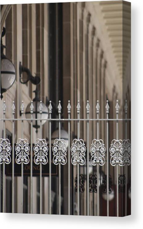 White Wrought Iron Gate In Chicago Canvas Print