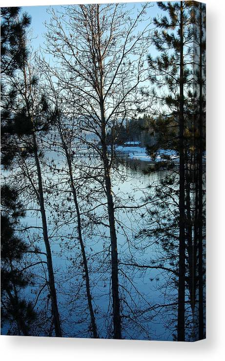Photography Canvas Print featuring the photograph Winter Water Blues by Heather S Huston
