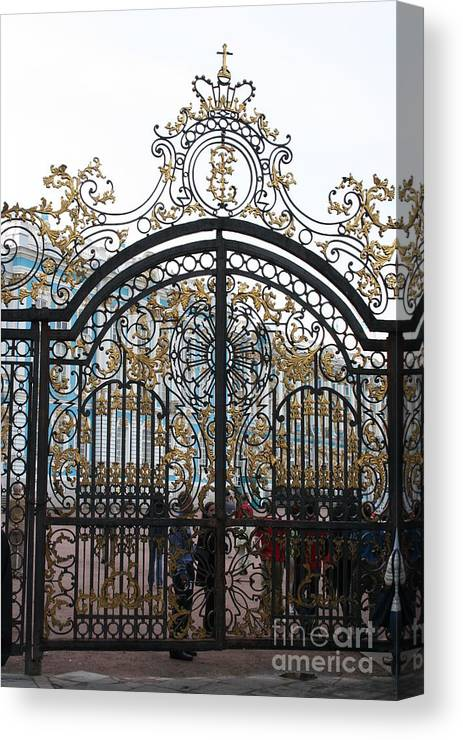 Gate Canvas Print featuring the photograph Wrought Iron Gate by Christiane Schulze Art And Photography