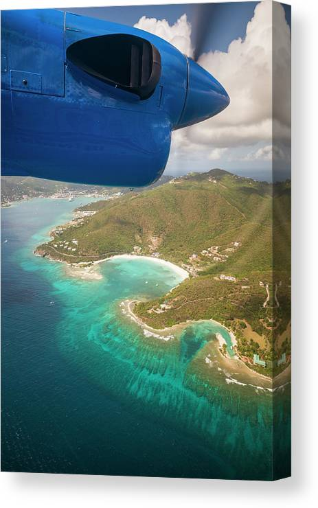 Aerial Canvas Print featuring the photograph British Virgin Islands, Tortola by Walter Bibikow