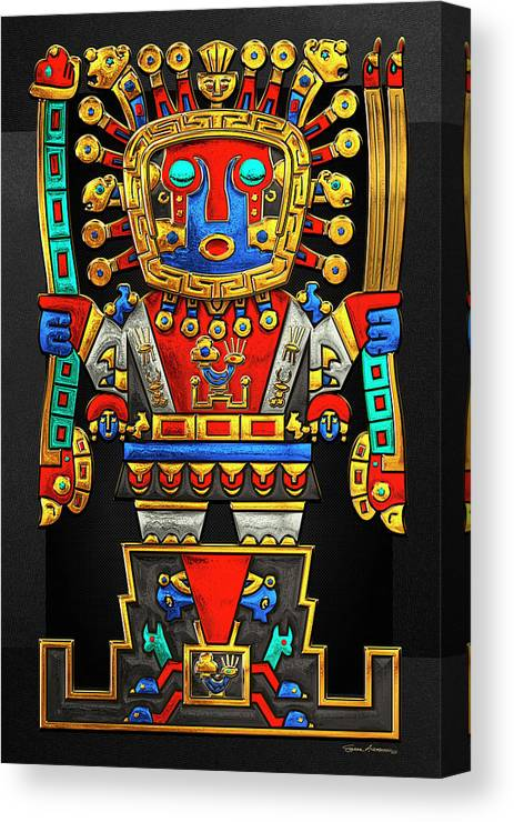 'treasures Of Pre-columbian America' Collection By Serge Averbukh Canvas Print featuring the photograph Incan Gods - The Great Creator Viracocha On Black Canvas by Serge Averbukh