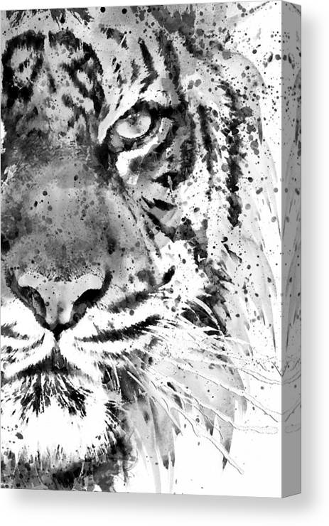 Tiger Canvas Print featuring the painting Black And White Half Faced Tiger by Marian Voicu