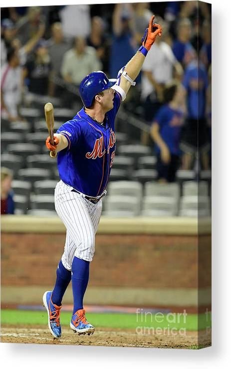 People Canvas Print featuring the photograph Miami Marlins V New York Mets - Game Two by Steven Ryan