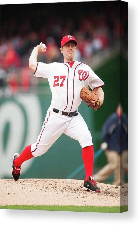 Baseball Pitcher Canvas Print featuring the photograph Atlanta Braves V. Washington Nationals 21 by Mitchell Layton