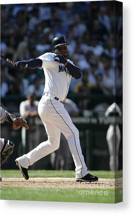 People Canvas Print featuring the photograph New York Yankees V Seattle Mariners by Rob Leiter