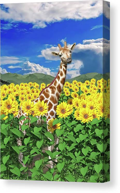 Giraffe Canvas Print featuring the digital art A Friendly Giraffe Hello by Betsy Knapp