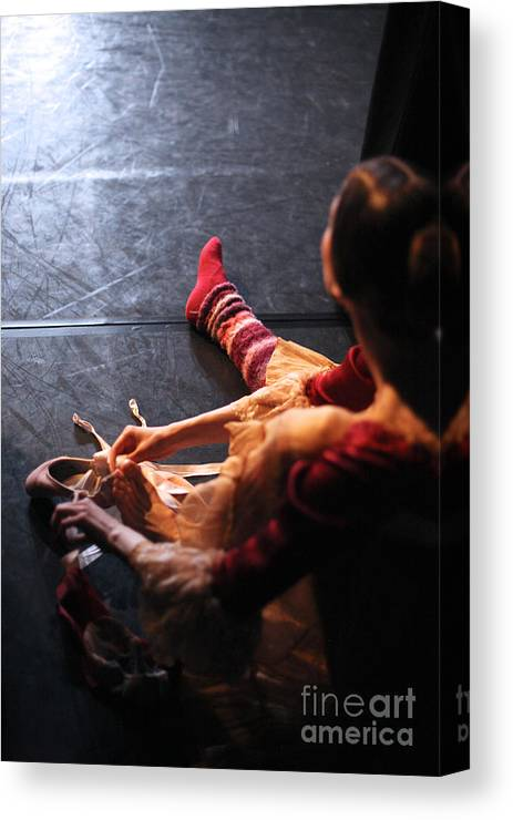 Studio Canvas Print featuring the photograph Ballet Behind The Scenes by Anna Jurkovska