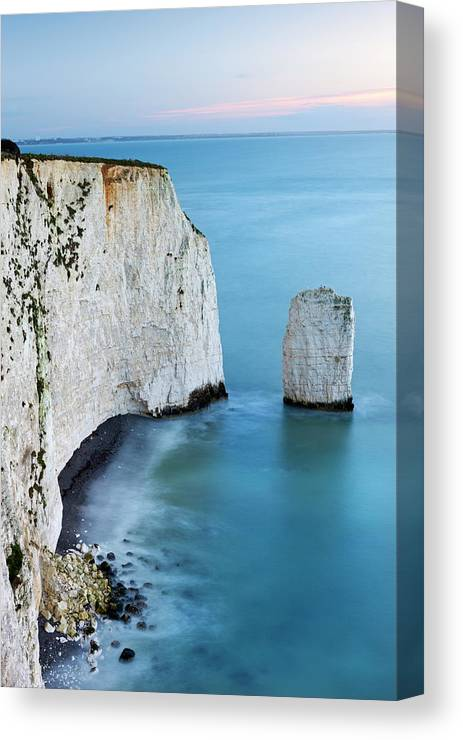 Scenics Canvas Print featuring the photograph Chalk Cliffs And Sea Stack At South by Adam Burton / Robertharding