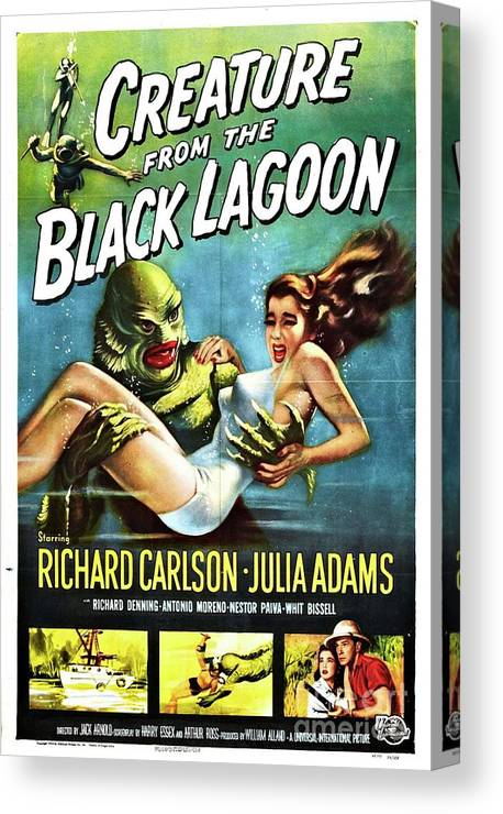 Poster Canvas Print featuring the painting Classic Movie Poster - Creature From The Black Lagoon by Esoterica Art Agency