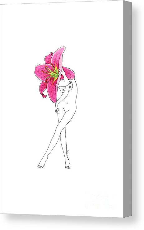 Flower Canvas Print featuring the drawing Flower Woman Lilium Painting by MundoNatula Arts