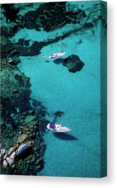 Corse-du-sud Canvas Print featuring the photograph France, Corse Du Sud, Boats Anchored In by Rieger Bertrand / Hemis.fr