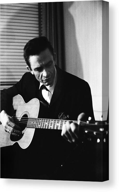 Singer Canvas Print featuring the photograph Johnny Cash At The New York Folk by Michael Ochs Archives