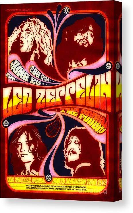 Poster Canvas Print featuring the digital art Led Zeppelin 72 Tour by Steven Parker