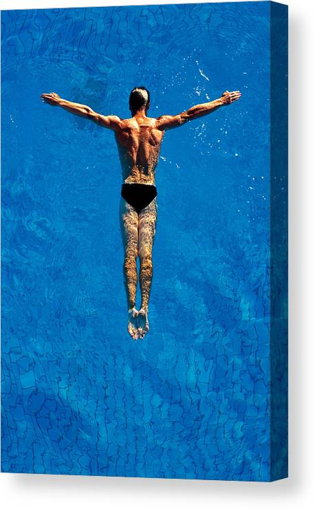 Human Arm Canvas Print featuring the photograph Man Floating In Water, Arms by Robert Koene