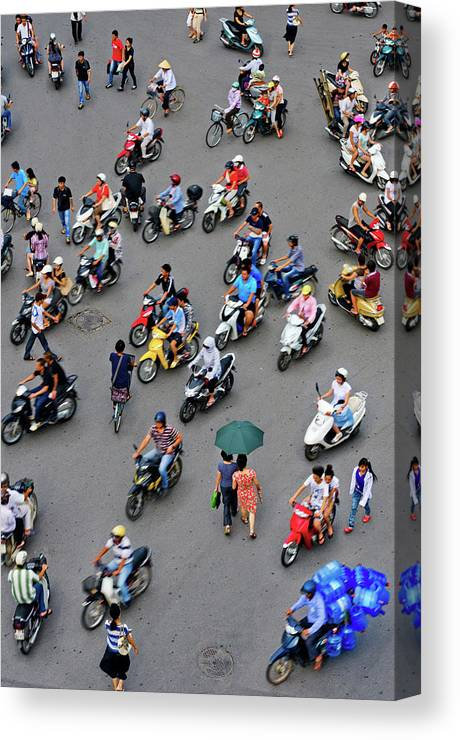 People Canvas Print featuring the photograph Overhead View Of Motorbike Traffic by Rwp Uk
