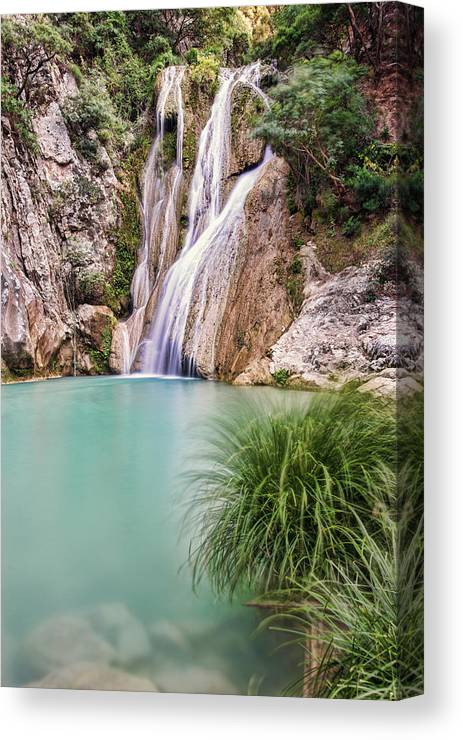 Greece Canvas Print featuring the photograph River Neda Waterfalls by Milan Ljubisavljevic