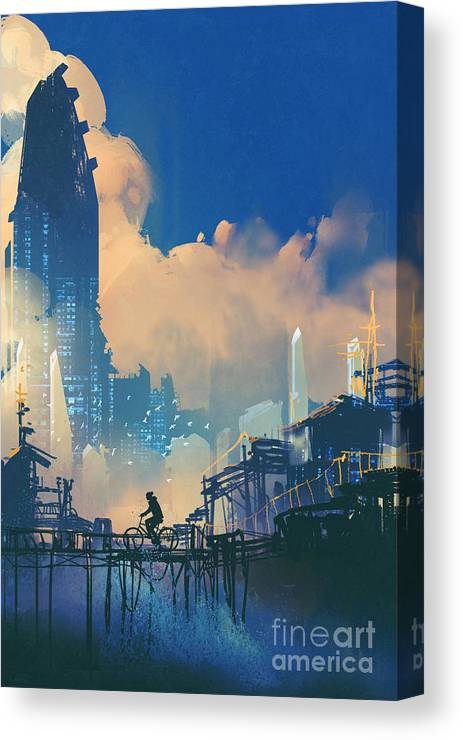 Bicycle Canvas Print featuring the digital art Sci-fi Cityscape With Slum And by Tithi Luadthong