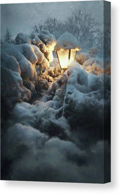 Snow Canvas Print featuring the photograph Streetlamp In The Snow by Scott Norris
