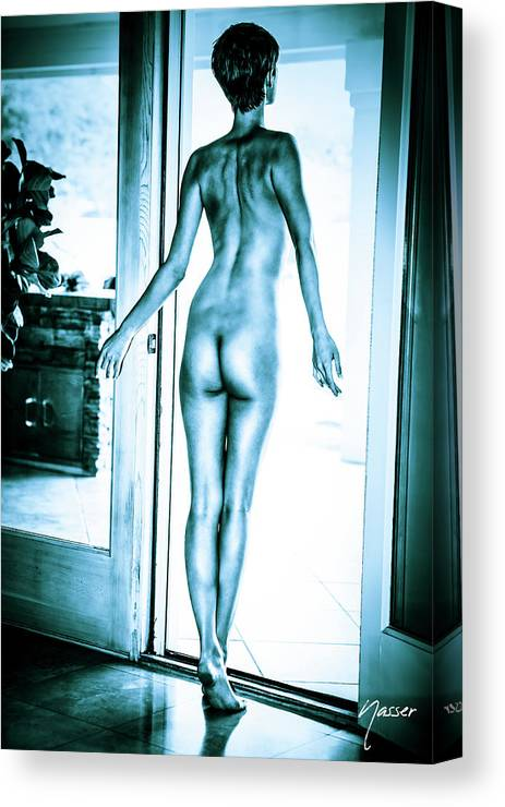 Femme Fatale Canvas Print featuring the photograph Tall Baby Blue Nude Boyish Brunette by SurXposed - Amyn Nasser Photographer
