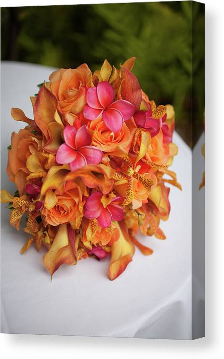 Orange Color Canvas Print featuring the photograph Tropical Colorful Bridal Bouquet by Segray