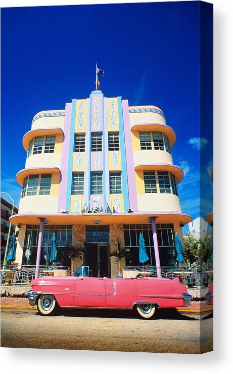 Funky Canvas Print featuring the photograph Usa,florida,miami Beach,art Deco by Randy Wells