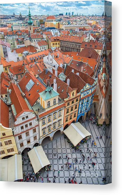 Crowd Canvas Print featuring the photograph View Over The Rooftops Of The Old Town by Badahos