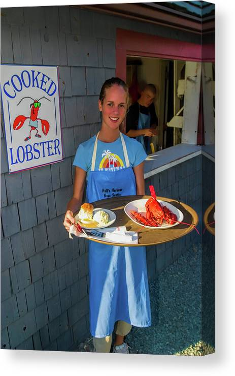 Nova Scotia Canvas Print featuring the photograph Waitress Serving Lobster by David Smith