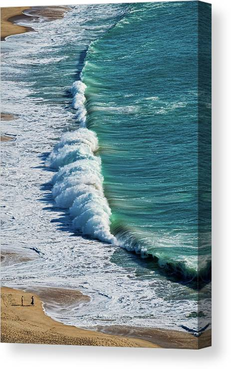 Portugal Canvas Print featuring the photograph Waves At Nazare Beach - Portugal by Stuart Litoff