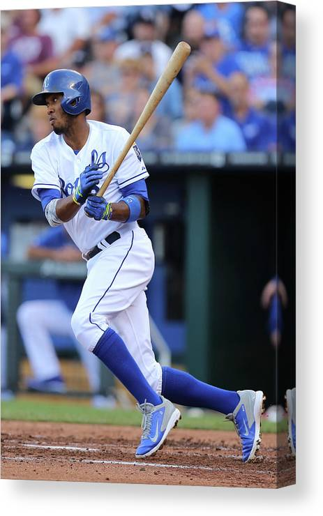 Second Inning Canvas Print featuring the photograph Alcides Escobar by Ed Zurga