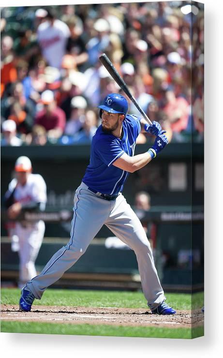 American League Baseball Canvas Print featuring the photograph Eric Hosmer by Rob Tringali