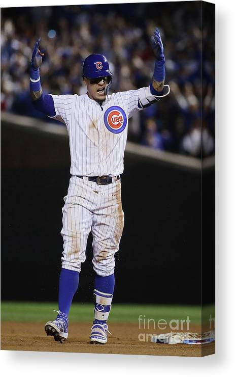 Playoffs Canvas Print featuring the photograph Terrance Gore And Javier Baez by Jonathan Daniel