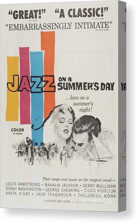 Jazz Canvas Print featuring the mixed media Classic Movie Poster - Jazz On A Summers Day by Esoterica Art Agency